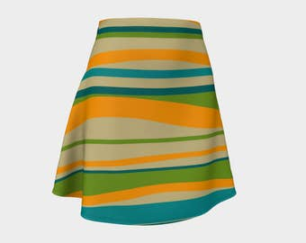 Retro, Skirt Green, Gift, For Her, Wife Gift, Womens Skirt, Gift, Turquoise, A-Line Skirt, Womens Gift, Unique, Gift for Women, Stripes