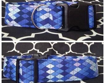 Geometric Blue Dog Collar / Martingale