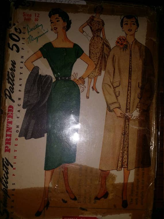 Simplicity 4557. Copyright 1950's. Junior Misses' and Misses' One-Piece Dress and Coat. Hard-to-find pattern! SZ 12