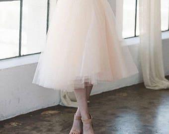 Midi Fluffy Tulle Skirt/Wedding Skirt/Bridesmaids Skirt/Pink/Custom Color
