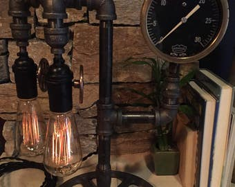 Steampunk Industrial Pipe Lamp-  #110 Dual Steam