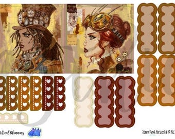 Retro Steampunk Planner Sticker Kit Horizontal