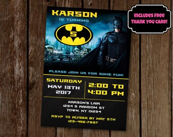 Batman Invitation, Batman Birthday Party Invite, Printable Batman Invitation, Comic Birthday Invitation, Superhero Invitation