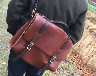 Leather Satchel, whiskey brown leather with chocolate brown straps.