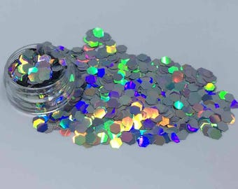 Holographic Silver Cosmetic Grade Glitter Hexagons - Cruelty Free