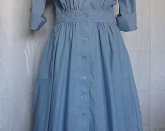Vintage 1980s does 1950s Serbin Shirtwaist Cotton Chambray Day Dress