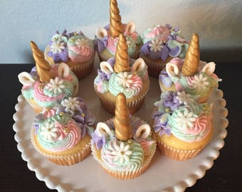 Unicorn horn and ears cupcake toppers (12 ct)
