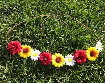 Daisy Sunflower Rose -Flower Crown/ Boho Spring Flower Headband