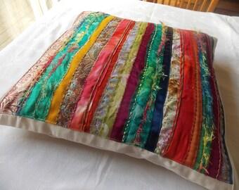 Multi-coloured strip cushion cover