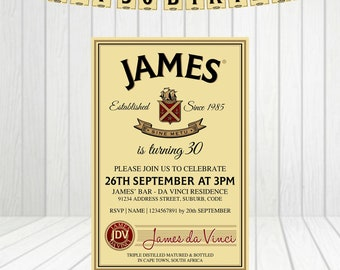 Irish Whiskey Personalized Invitation Printable