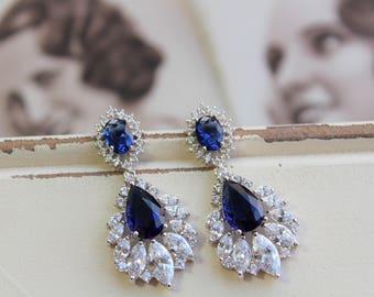 Blue Bridal Crystal  Earrings , Crystal  Drop Earrings, Bridal Earrings,  Wedding Earrings, Crystal  Earrings,  Stud Earrings, Blue Earrings