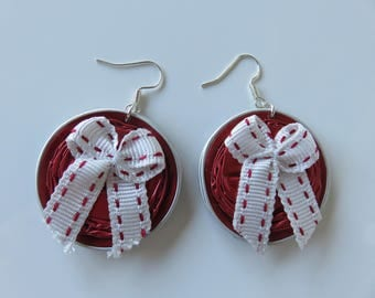"Earrings ""Keya"" red nespresso capsules and bow"