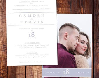 Couple Picture Modern Wedding Invitation, Envelopes Included (lds temple wedding, customizable)