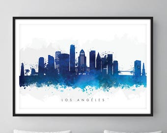Los Angeles Skyline, Los Angeles California Cityscape, Wall Art, Art Print Watercolor [SWLAX06]