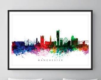 Manchester Skyline, Manchester England Cityscape England, Art Print, Wall Art, Watercolor, Watercolour Art Decor [SWMAN01]