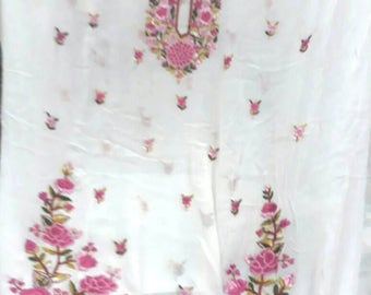 white and pink embroidered kurta or dress (unstitched)