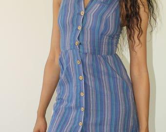 striped breezy linen button up dress / S