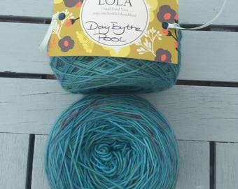 "Hand Dyed Yarn- Hand Dyed Sock Knitting Yarn 100 grams - ""Day By The Pool"""