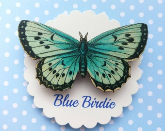 Butterfly brooch large blue butterfly pin brooch gifts for her butterfly jewlery insect jewelry nature jewelry blue butterfly brooch pin