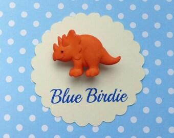 SALE! Dinosaur brooch orange dinosaur brooch dinosaur jewelry dinosaur jewellery purple dinosaur badge dinosaur gift triceratops badge