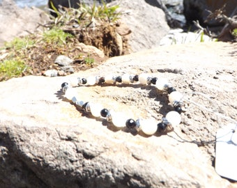 Natural Stone Beaded Bracelet- Mother of Pearl, Onyx & Sterling Silver