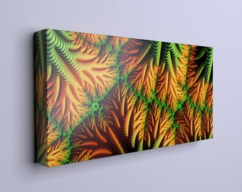 Bold orange and green large canvas composition on a wooden frame -