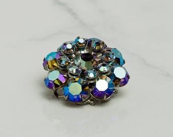 Blue Crystal Brooch | Bridal Bouquet | Vintage