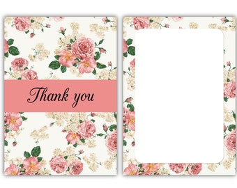 Thank you cards - Vintage Roses - 24 x A6 postcard size cards - suitable for any celebration! (With envelopes)