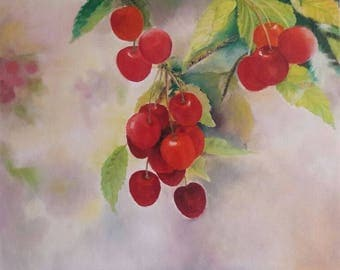 Cherry, still life, oil on canvas, 50cm x 60cm.
