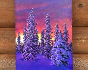 Fiery Winter Sunset painting w/ choice of frame