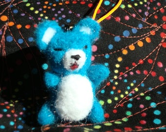 Needle felted miniature bright blue teddy bear plush keychain