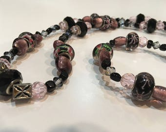 Matching pink and black necklace and bracelet (one of a kind)