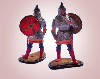 Old Tin Figurine Warrior - 1940 Statuette Made From Tin Handpainted in Germany