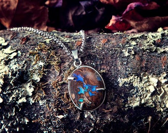 Koroit Boulder Opal pendant, wire wrap design - hand made 925 silver
