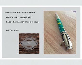 30 Caliber Bolt Action Pen w/Antique Brass Finish and Green Bay Packer Green & Gold Body