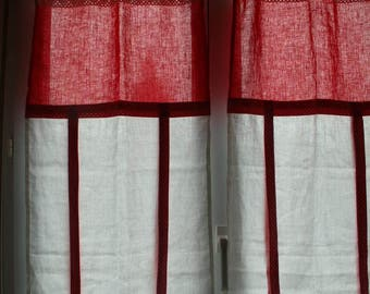 Pair of red and white linen curtains