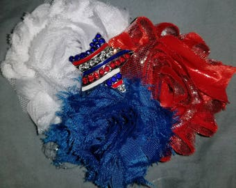 Patriotic red,white,and blue shabby chic hair clip with crystal star