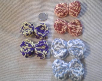 Tow Color Hair Bow Clips, 3 sets of 2.
