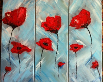 Poppies, oil on canvas, triptych, abstract art