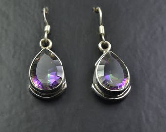 Sterling Silver Earrings with a Mystic Topaz Gemstone