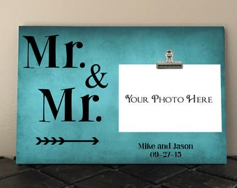WEDDING Gift,  Personalized Free, Anniversary gift, Mr and Mr, Personalized photo frame, gay couple, gay wedding, unique wedding gift