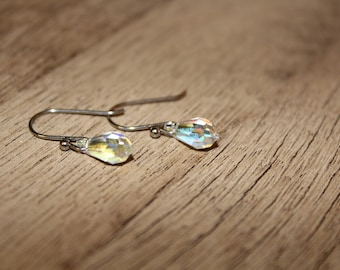 Swarovski crystal bead dangle earrings -- Hypoallergenic earwire --