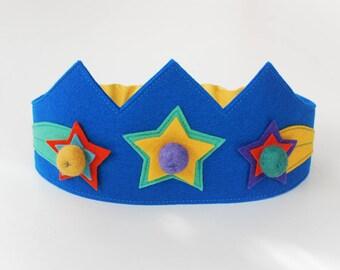 Wool felt crown, Star crown, Birthday crown, Girls crown, Boys crown
