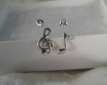 Music Note Earrings, Sterling Silver Clef and Music Note Stud Earrings, Gift for Misician
