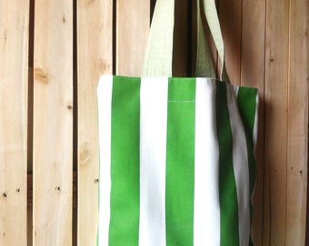 Beach bag, Striped canvas  bag , canvas bag, striped tote , Green white stripes , summer tote, striped summer tote