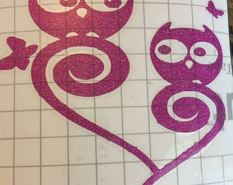 Heart and owls decal