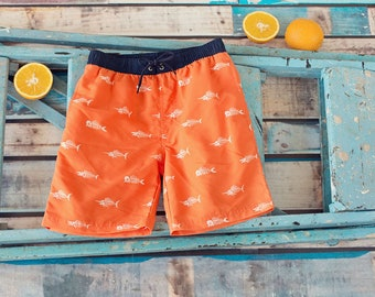Big Fisch Boys Orange Red Fish Swimming Board Beach Shorts Trunks Age 2 - 7 Years