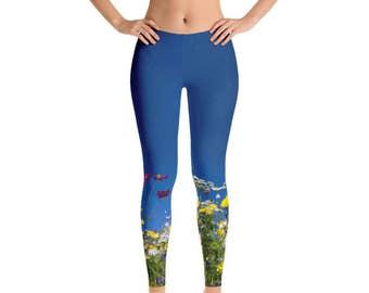 Blue Wildflower Leggings