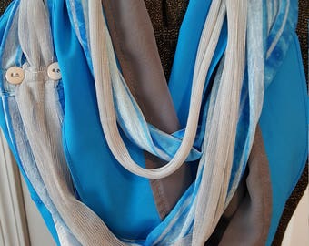 Turquoise, grey, and silver Women's Infinity All Daywear Scarf