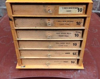 Vintage Letterpress Printing Adana Wooden Type Cabinet with Six 36 division cases